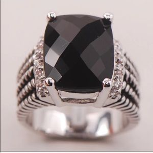 NEW BLACK ONYX STERLING SILVER 925 STATEMENT RING